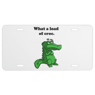 What A Load of Croc Alligator Crocodile Cartoon License Plate