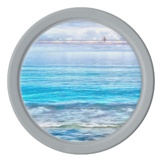 What a view of the ocean set of poker chips