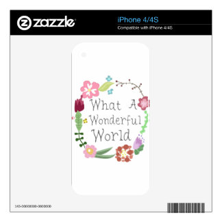 What A Wonderful World - Floral Wreath Skin For iPhone 4S