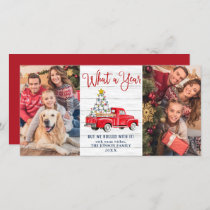 What a Year 2020 Christmas Red Farm Truck 2 Photo Holiday Card