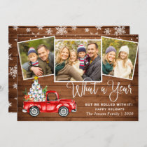 What a Year 2020 Christmas Red Farm Truck 3 Photo Holiday Card