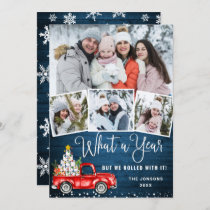 What a Year 2020 Christmas Red Farm Truck 4 Photo Holiday Card