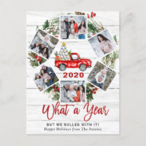 What a Year 2020 Christmas Red Farm Truck 6 Photo Holiday Postcard