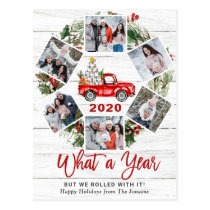 What a Year 2020 Christmas Red Farm Truck 6 Photo Postcard