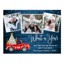 What a Year 2020 Christmas Red Farm Truck Photo Postcard