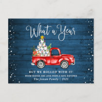 What a Year 2020 Christmas Red Farm Truck Rustic Holiday Postcard