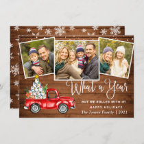 What a Year 2021 Christmas Red Farm Truck 3 Photo Holiday Card