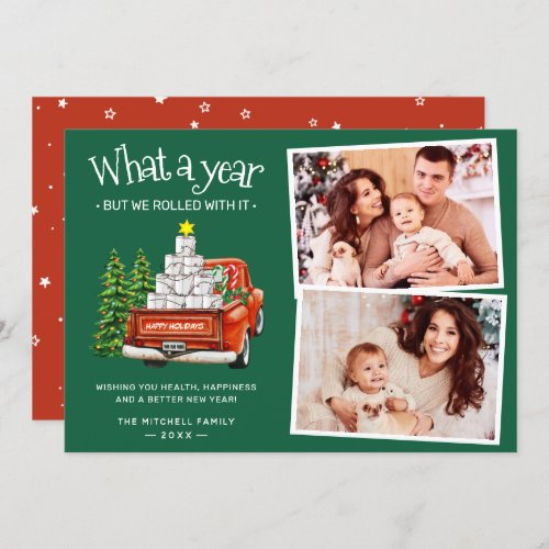 What A Year 2021 Red Truck Christmas Tree 2 Photo Holiday Card