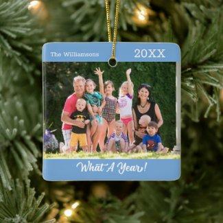 What A Year Custom Photo Light Blue Christmas Ceramic Ornament