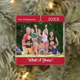 What A Year Custom Photo Red Christmas Ceramic Ornament
