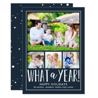 What A Year Editable Color Holiday Photo Card at Zazzle
