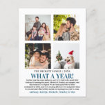 "What A Year In Review 4 Photo Collage Holiday Postcard<br><div class=""desc"">These simple and modern year in review 4 photo postcards are perfect for sending out to family and friends this holiday time.</div>"