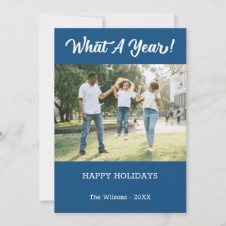What A Year Modern 2 Photo Blue Holiday Card