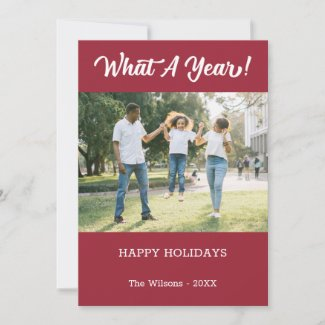 What A Year Modern 2 Photo Burgundy Holiday Card