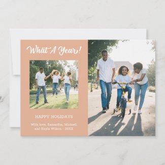 What A Year Modern 3 Photo Peach Holiday Card