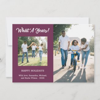 What A Year Modern 3 Photo Purple Holiday Card
