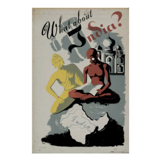 What About India Buddha Gandhi 1941 Vintage WPA Poster