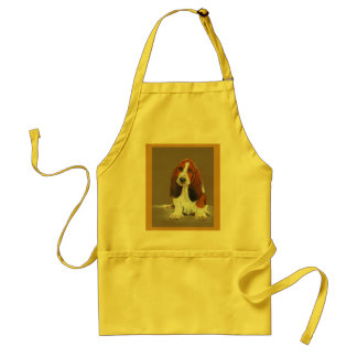 """""""What About Me"""" original painting dog puppy animal Adult Apron"""