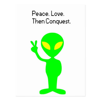 What Aliens are Thinking Cartoon Postcard