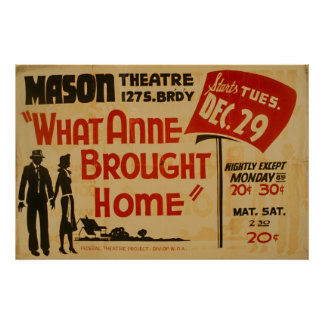 What Anne Brought Home Vintage WPA Poster