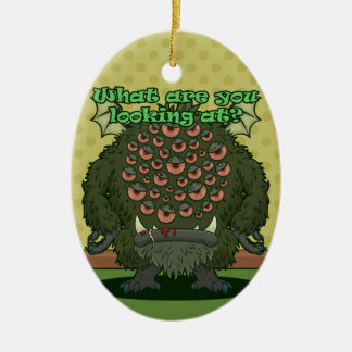 What are you looking at? (Green Monster) Ceramic Ornament