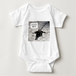 """""""What are you looking at?"""" Iguana Baby Bodysuit"""