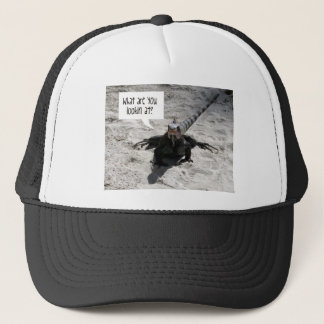 """""""What are you looking at?"""" Iguana Trucker Hat"""
