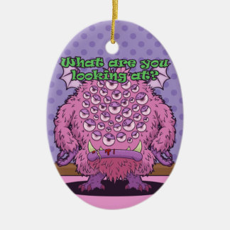 What are you looking at? (Pink Monster) Ceramic Ornament