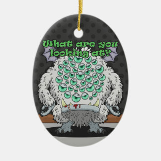 What are you looking at? (White Monster) Ceramic Ornament