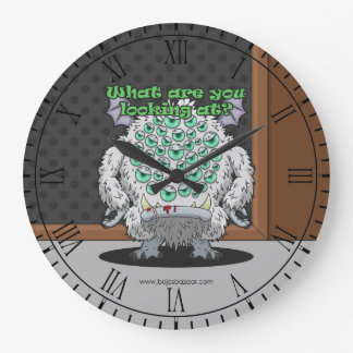 What are you looking at? (White Monster) Large Clock