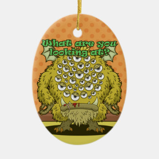 What are you looking at? (Yellow Monster) Ceramic Ornament