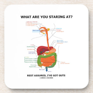 What Are You Staring At Rest Assured I've Got Guts Beverage Coasters