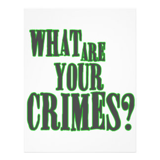 What Are Your Crimes? Letterhead
