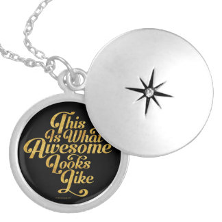 What Awesome Looks Like (Gold) Round Locket Necklace