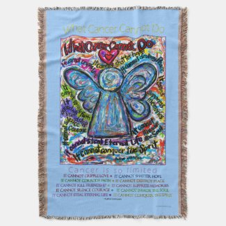 What Cancer Cannot Do Angel Poem Art Throw Blanket