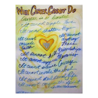 What Cancer Cannot Do Blue & Gold Poster Art Print