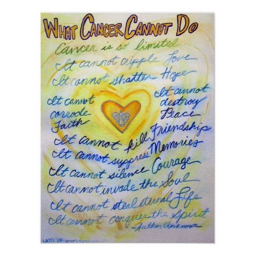 What cancer cannot do blue amp gold poster art print