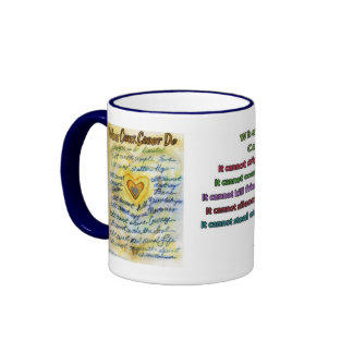 What Cancer Cannot Do (Blue & Gold Text) Ringer Coffee Mug