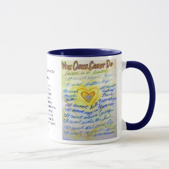 What Cancer Cannot Do Blue & Gold Text Mug or Cup