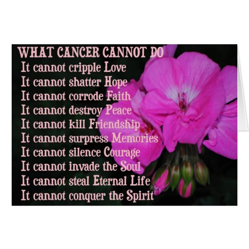 What Cancer Cannot Do Pink Geranium Flower Card