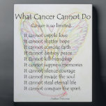"""What Cancer Cannot Do Poem Angel Painting Plaque<br><div class=""""desc"""">Art background features &quot;Rainbow Hearts Angel&quot;. A white light guardian angel has wings folded to create a heart shaped outline. The feathers of the angel&#39;s wings also form heart shapes. There is a heart on the angel&#39;s chest and a heart hovering over the angel&#39;s head like a halo. Painting was...</div>"""