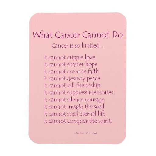 What cancer cannot do poem magnet pink text zazzle
