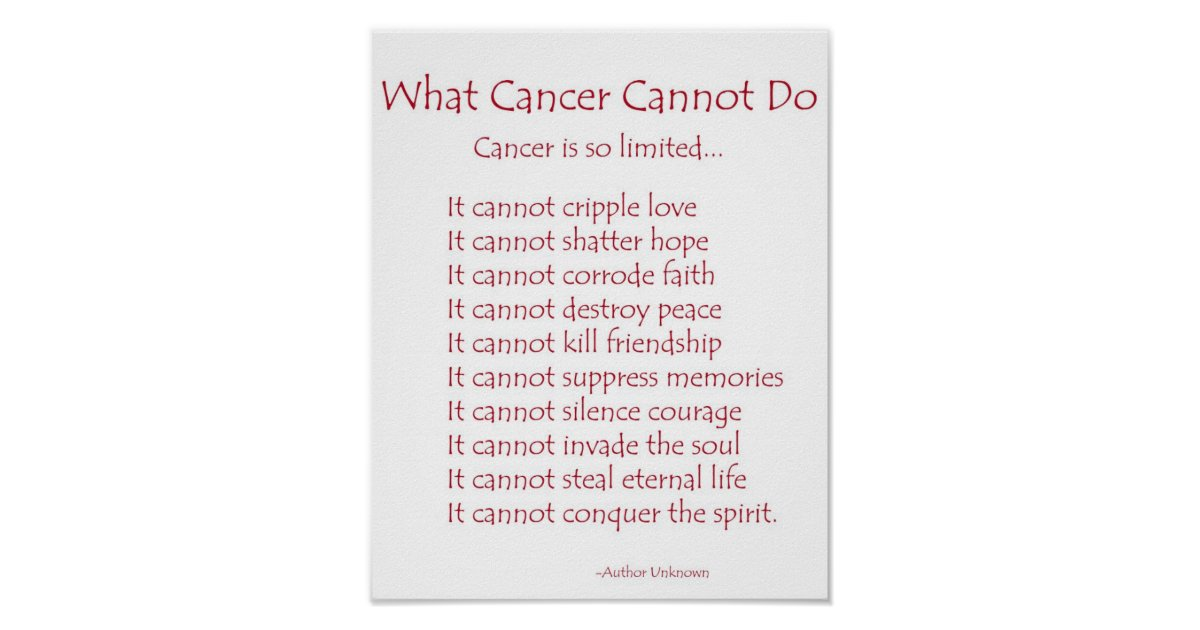 What Cancer Cannot Do Poem Poster Print Zazzle Com