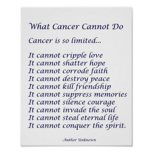 what cancer cannot do When jeanne coverdale was diagnosed with cancer she decided to design a quilt panel of what cancer cannot do jeanne unfortunately lost her battle last.