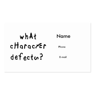 What Character Defects Business Cards