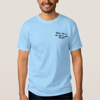 What color is the sky in your World?? Embroidered T-Shirt