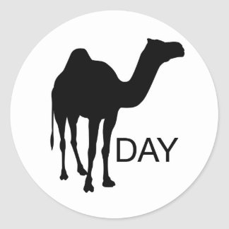 What day is it... Wednesday! Hump Day! Classic Round Sticker