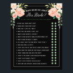 """What did he say Bridal Shower Game Black Peach Flyer<br><div class=""""desc"""">Customize to change the background color. Watercolor peach and blush pink florals with touches of sage green. Don&#39;t want to print your own bridal shower games, Use these flyers instead. Order quantity as needed; Bridal Shower Game &quot;What did he say about his bride&quot; with Y or N circles, to decide...</div>"""