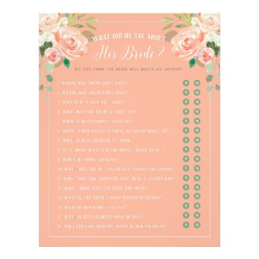 Bride Themed What did he say Bridal Shower Game Peach Flyer