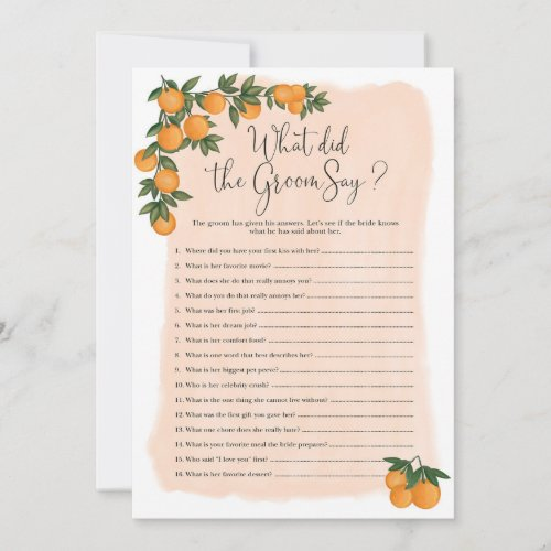 What did the Groom Say Bridal Shower Game Card